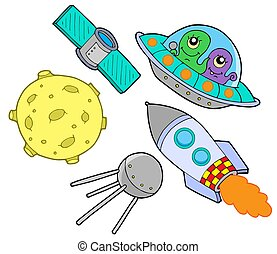 Space collection on white background - isolated illustration.