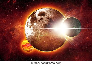 Space Collision Illustration. Abstract Space Collision Large...