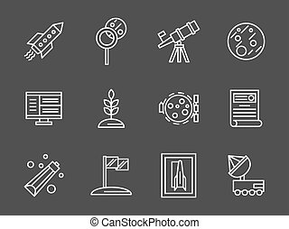 Space colonization simple white line vector icons