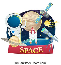 Space concept design, vector illustration