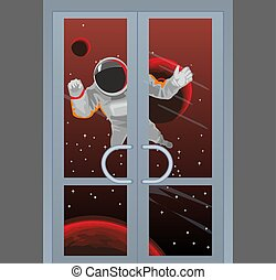 Space concept with astronaut knocking on the door.