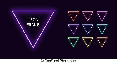 space., copia, triangolo, set, neon, bordo, monocromatico, mascherine