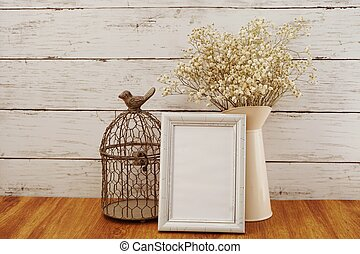 space copy background with dried flowers bouquet home decoration