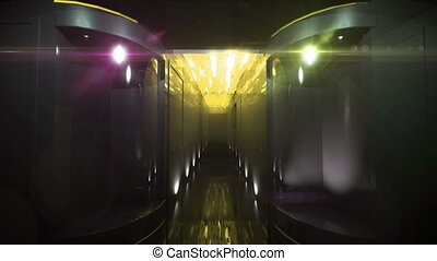 Space Corridor color led by 3D rendering