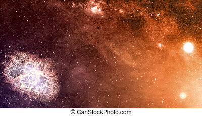 Space cosmic background of supernova nebula and stars field