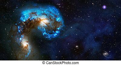 Space cosmic background of supernova nebula and stars field