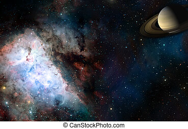 Space cosmic landscape of planet nebula and stars field