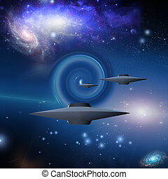 Space Craft Travels Via Wormhole
