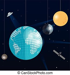 Space Disco - vector illustration of the planet earth, the...