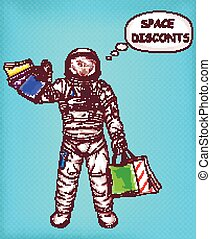 Space discounts vector concept with astronaut