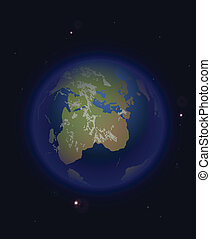 Space earth and stars. Vector