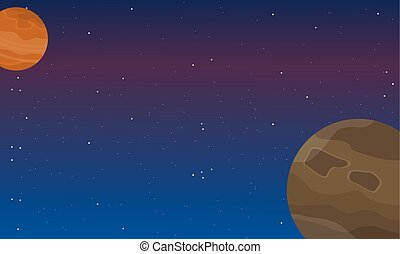 Space element at night landscape