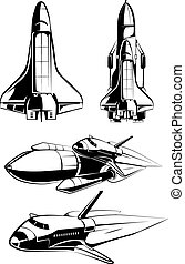 Space elements for vintage astronaut vector labels