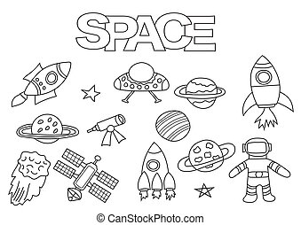 Space elements hand drawn set. Coloring book template.  Outline doodle