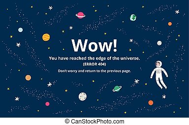 Space error page - Space 404 error page, vector template