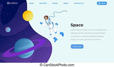 Space exploration flat landing page template. Female cosmonaut in outer space, astronaut floating in cosmos zero gravity vector character. Interstellar travel, adventure, journey creative