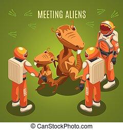 Space Exploration Meeting Aliens Composition