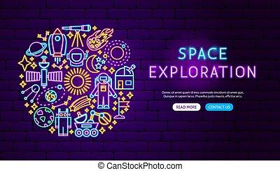 Space Exploration Neon Banner Design. Vector Illustration of...