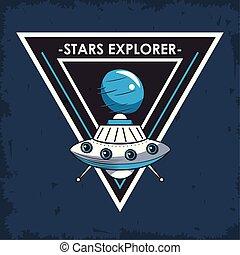 Space explorer patch emblem design