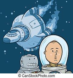 Space Explorers - A cartoon astronaut, his robot sidekick...
