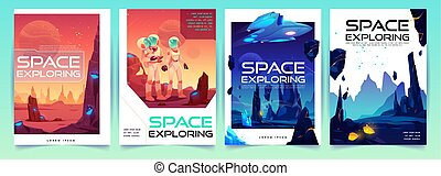 Space exploring banners set with alien landscape - Space ...
