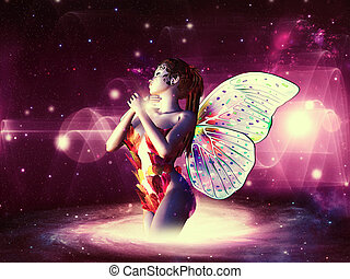 Space fairy - Beautiful magic fairy on colorful space...