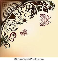 space., farfalle, fondo, floreale, vettore, copia, volare