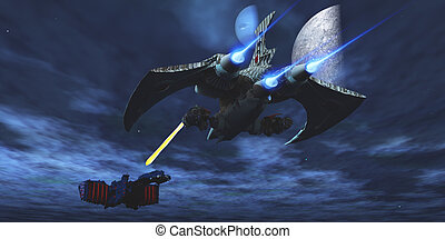 A lighter and more maneuverable spaceship blasts a laser beam toward a enemy battleship.