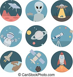 Space flat icons
