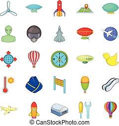 Space flight icons set, cartoon style