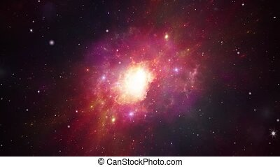 Space flight into a star field. 3D Fly through in a space galaxy in universe big bang space Loop Animation.