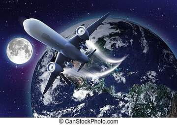 Space Flight. Abstract Illustration of Flying Airplane into...