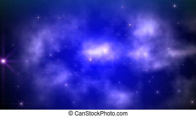 space fly clouds blue