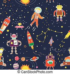 Space funny seamless pattern for kids - illustration
