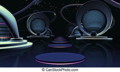 Space Future City - 3D Animation Loop 10 sec