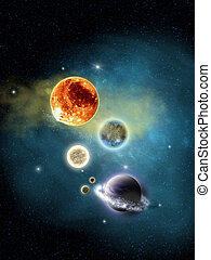 space - Galactic Space Nebula with Stars and planet