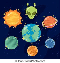 space galaxy astronomy in cartoon style set icons planet alien sun