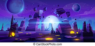 Space game background, neon night alien landscape - Space ...