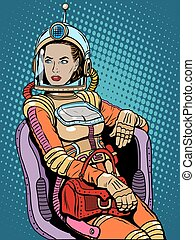 Space girl beauty sexy science fiction pop art retro style....