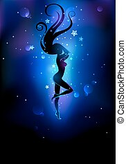 black silhouette of a dancing girl on a dark background of space.