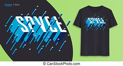 Space. Graphic t-shirt design, typography, print with 3d ...