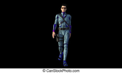 Space guard - 3d render of a space guard in action isolated...