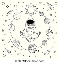 Solar system planets coloring page. Black and white cartoon... eps ...