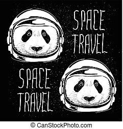 space helmet panda pattern