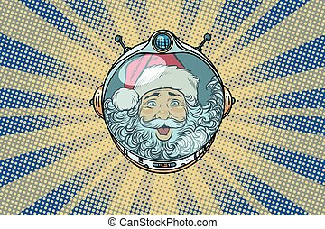 Space helmet with Santa Claus astronaut