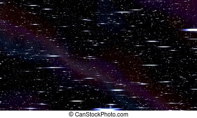 Space horizontal warp speed hyperspace travel through starfield nebula l-r