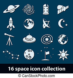 space icons - 16 space icon collection