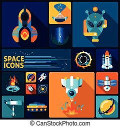 Space exploration decorative icons flat set with alien rockers telescope asteroid isolated vector illustration