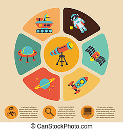 Space icons infographics of rocket astronaut planet and...