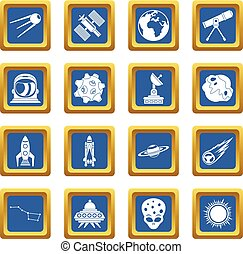 Space icons set blue